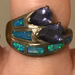 Jewelry - Caribbean opal, amethyst and sterling silver ring.